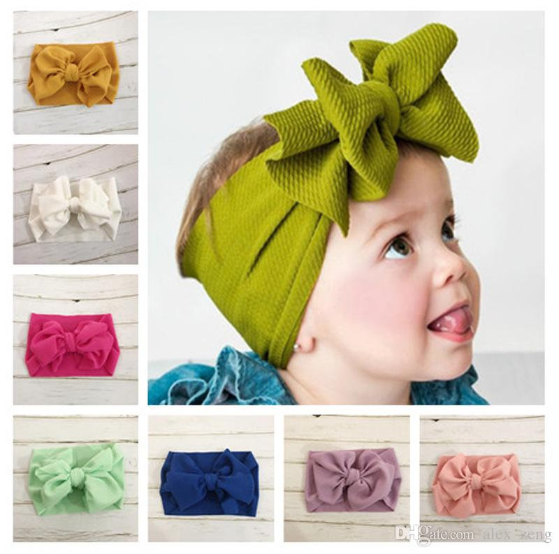 Baby Girl Solid Big Bow Knot Wide Headband Turban Headwrap Hair Accessories