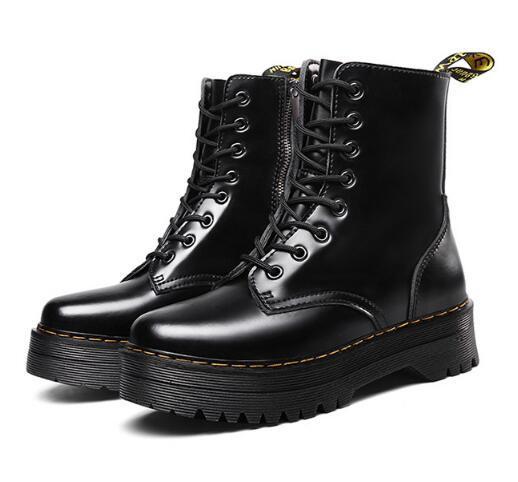 디자이너 사이드 지퍼 여성의 신발, 긴 다리와 키가 발목 부츠, 가죽 캐주얼 신발, 하이 컷 마틴 V38 고급 여성의 부츠 신발