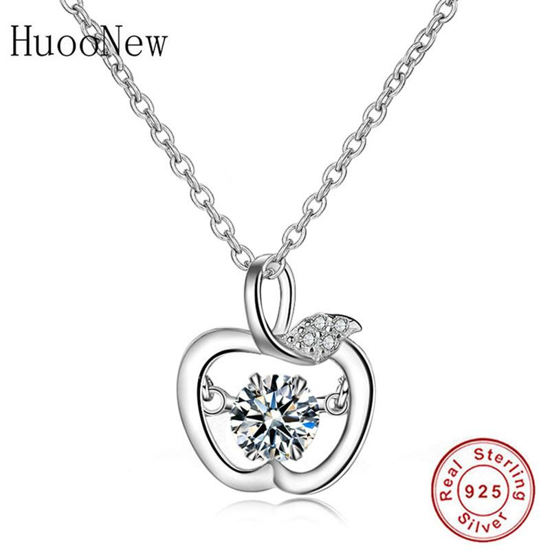 925 Sterling Silver Cute Minnimalist Apple Pendant Necklace Link Chain Choker For Women Making Jewelry Christmas Trinket Bijoux