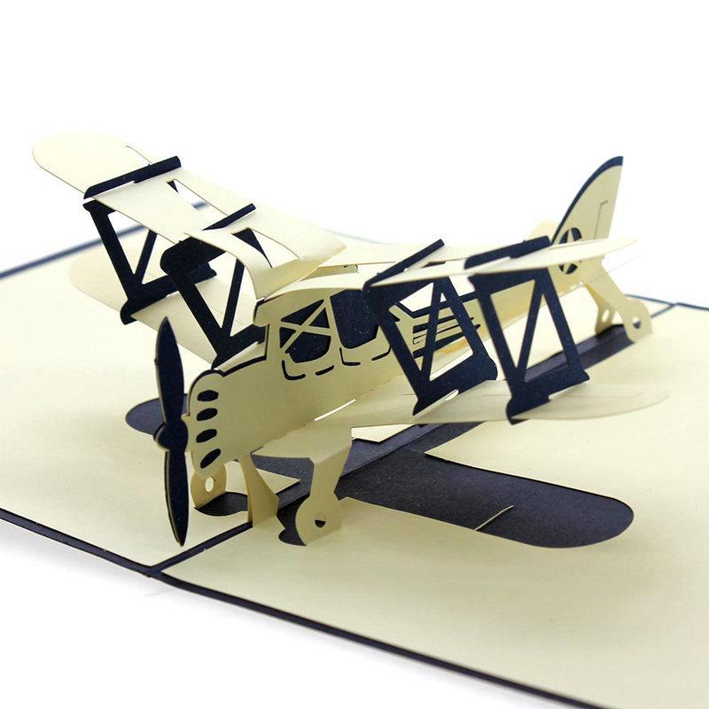 New Easter Day 3D Pop Up Airplane Handmade Best Wish Greeting Card Kirigami Gift Party Supplies