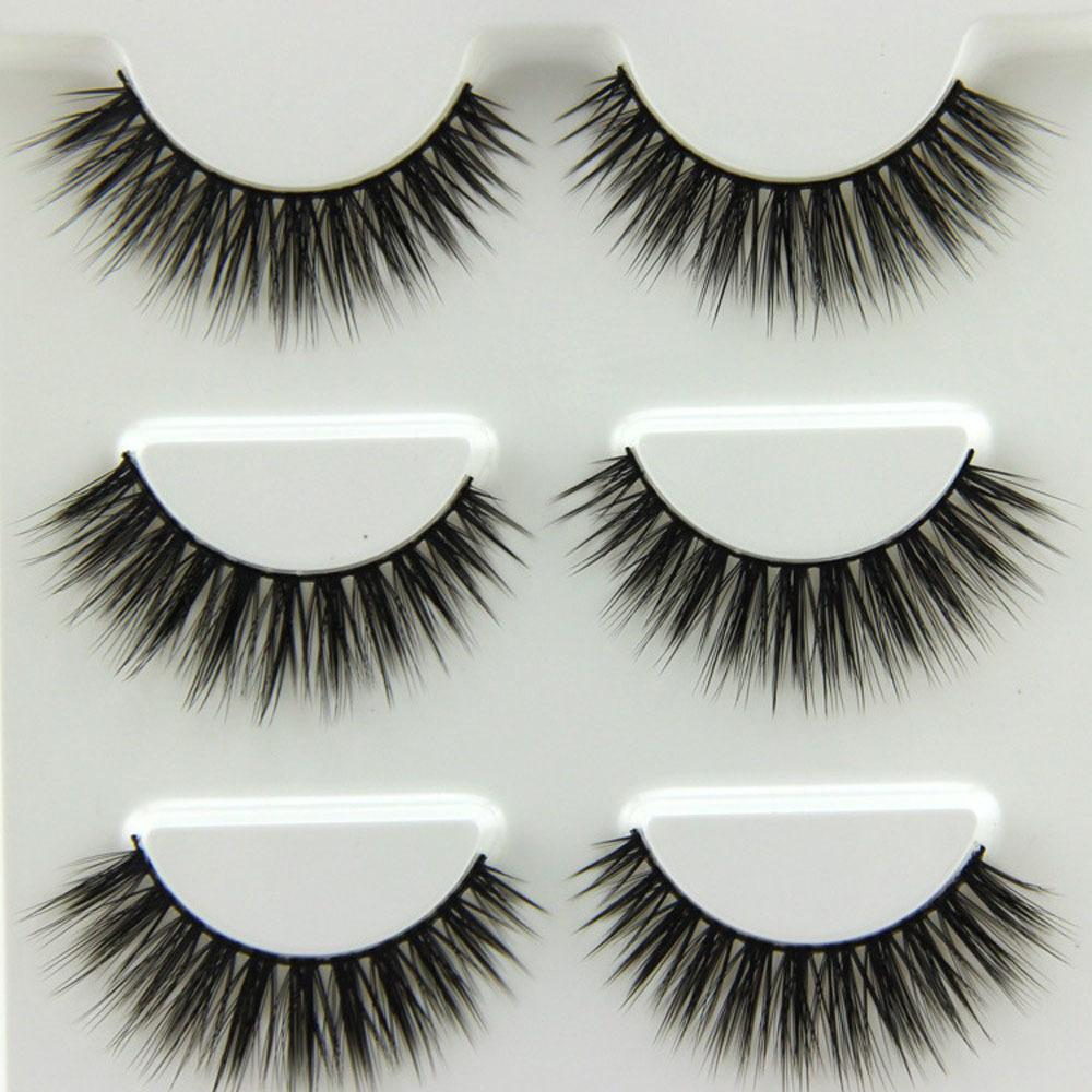 3pairs New Black Natural Long 3d Eye Lashes Makeup Handmade Thick False Eyelashes Extension Tools