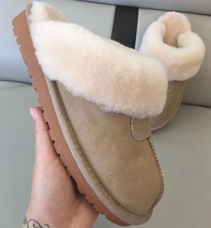 Yüksek Kaliteli Çocuk Kış Gerçek Deri Süet Pamuk Terlik Çocuk İnek-Bölünmüş Terlik Çizme Kar Boots Tasarımcı Kapalı Pamuk Terlik
