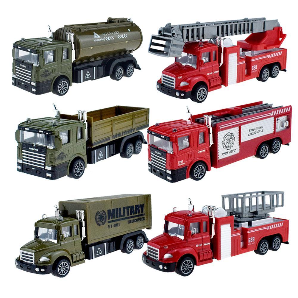 6 스타일로 돌아 가기 합금 소방차 사다리 구조 트럭 컨테이너 차량 모델 키즈 게임 선물 L620을 공급 당겨