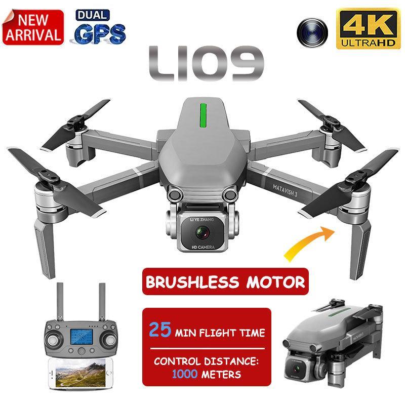 2020 جديد L109 المهنية gps الطائرة بدون طيار مع 4 كيلو hd المزدوج كاميرا فرش محرك طوي quadcopter 1000 متر rc المسافة لعبة T200420