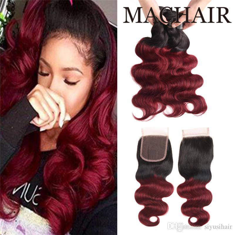 Человеческие волосы Ombre 3 пучка с закрытием 1B / 99J Бордовый Темно-красное вино 1b / 27 Бразильские волосы девственницы Объемная волна с закрытием кружева