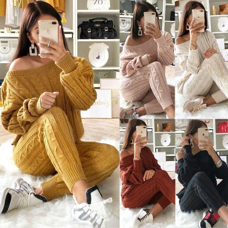 Sweater Moda Outono Treino Mulheres cor sólida de alta qualidade soltas manga comprida Tops + Pants Two Piece Set Popular Clothings 12 Cor