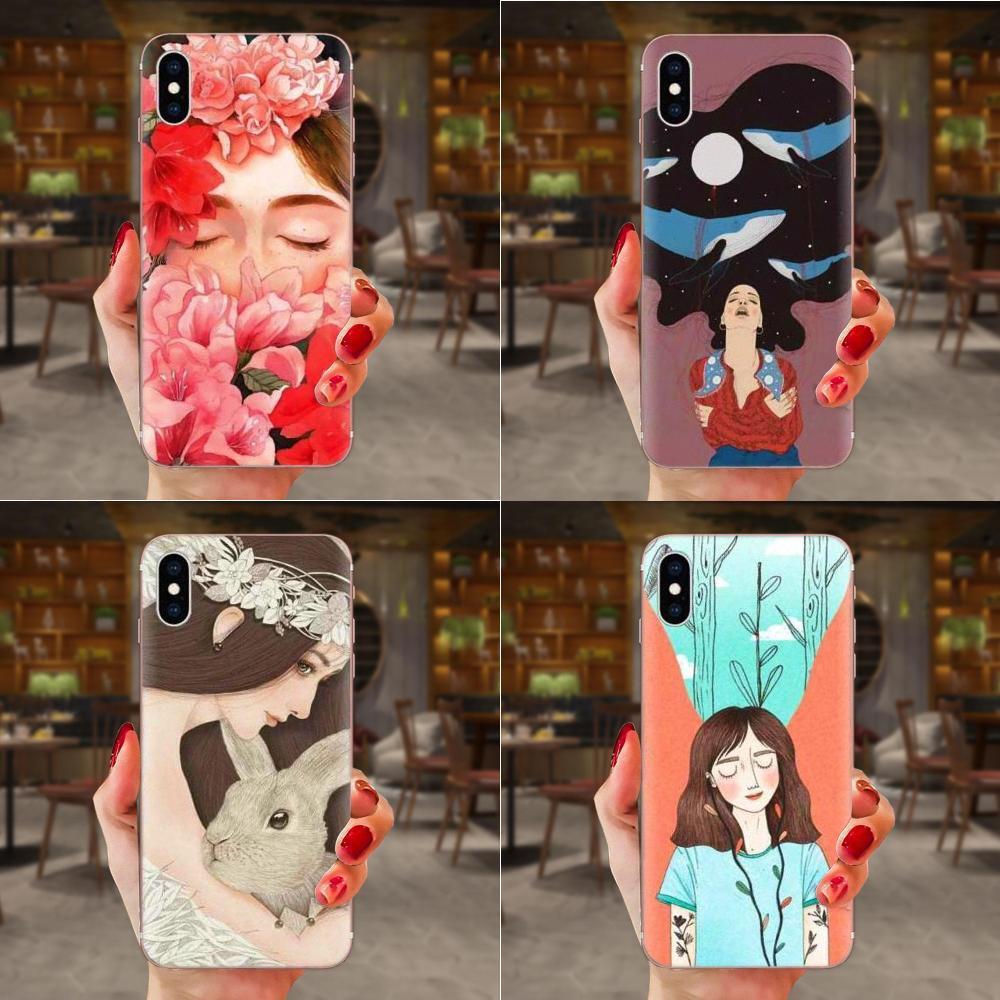 HTC Desire 530 626 628 630 816 820 830 Tek A9 M7 M8 M9 M10 E9 U11 U12 Hayata Artı Yumuşak Capa Kılıf Kız Ve Çiçek Desen İçin Özel