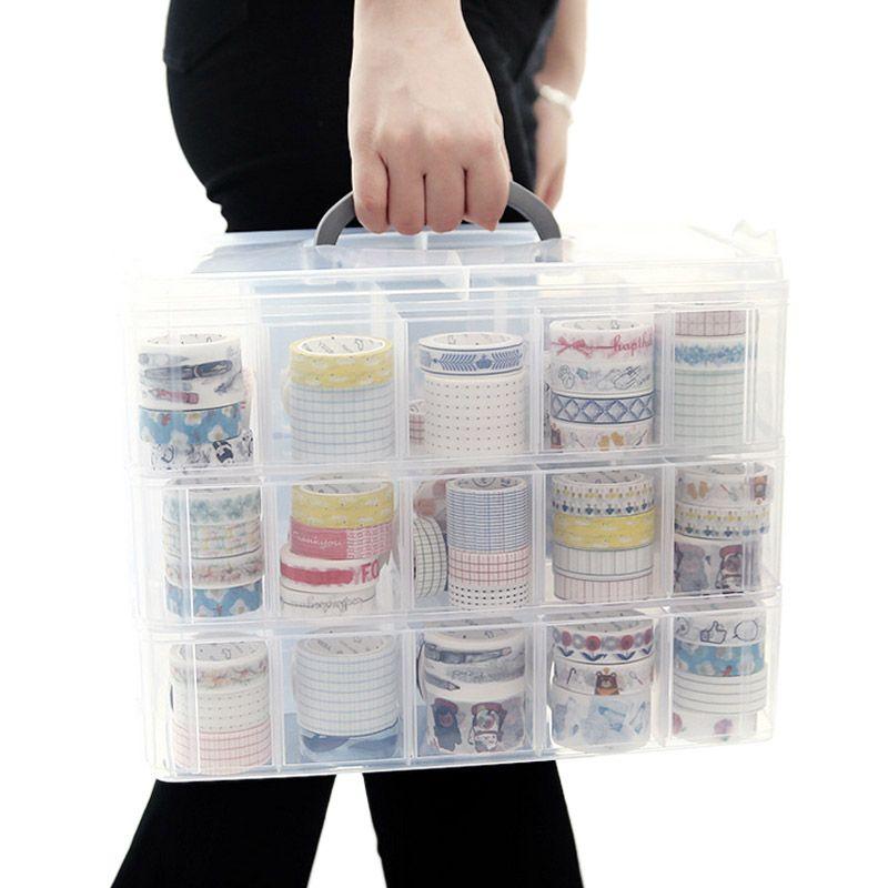 30 Slot 3 Tiers trucco dell'organizzatore dei monili di caso dell'organizzatore di immagazzinaggio rimovibili Box Toys Valigia trasparente