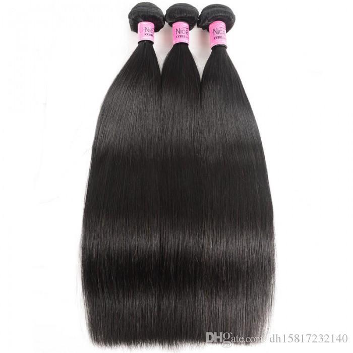 3 desteler TKWIG siyah kadınlar için 100'ün altında remy düz saç iyi bakire insan saç uzatma tam dantel insan saçı