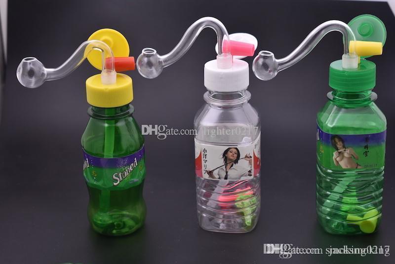 billige mini protable Reise Kunststoff Mini-Trinkflasche Bong Wasserleitung Bohrinseln Wasserleitung für das Rauchen