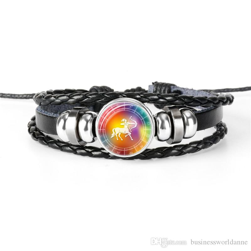 Newest Fashion Leather Rope Beaded Bracelet for Men Women Braided Multilayer 12 Constellation Zodiac Sagittarius Time Gem Glass Dome Jewelry