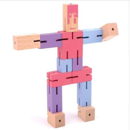 Wooden Puzzle Transformer Cube Fantastic Robot Creative DIY Assembling Puzzle Educational Brain Teaser Toys - Perak Man