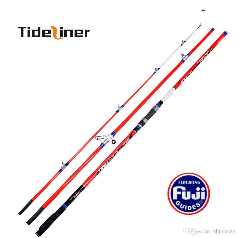 4.2m Piena Fuji Parts Surf Pesca Canna da pesca in fibra di carbonio Spinning Surf Casting Canna da pesca Pole 3 Sezioni LURE PESO 100-250G