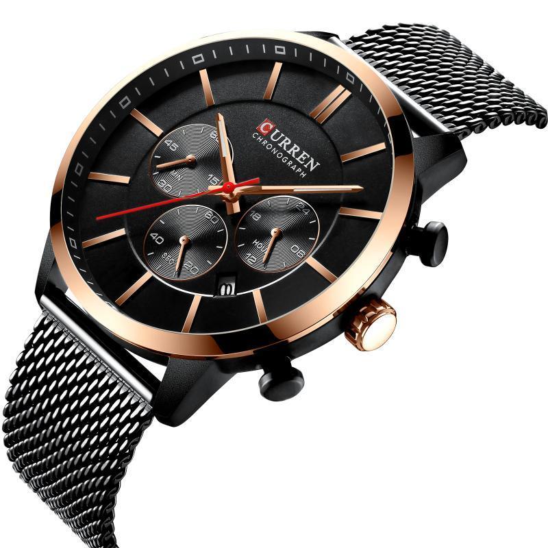 CURREN M8340 Montre homme quartz ultra-mince imperméable six - aiguille montre de mode affaires de la bande de maille en acier inoxydable