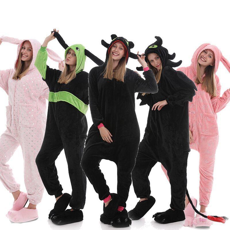 Adult Animal Sleepsuit Pink Rabbit Pajamas Costume Cosplay Onesie Fancy pijama Dragon Toothless Pyjama Sleepwear onsie Y200425