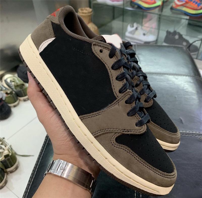 2019 подлинный Travis Scott x 1 Low OG SP TS CQ4277-001 1S Brown замшевые черные баскетбольные туфли спортивные кроссовки с оригинальной коробкой