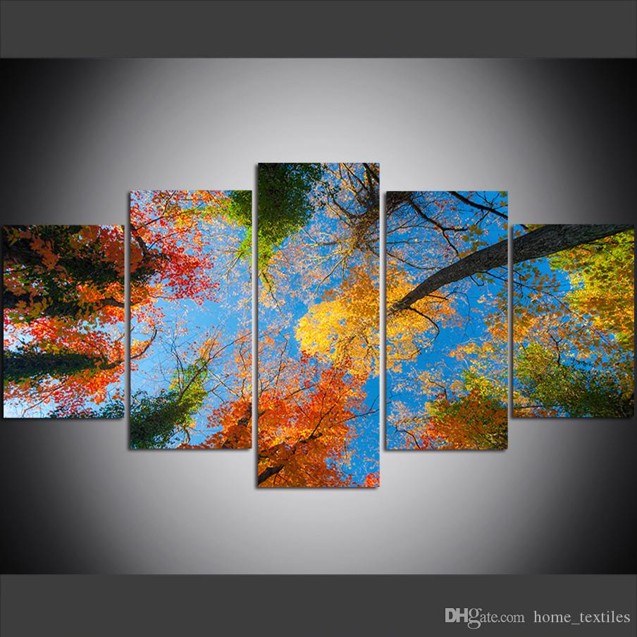 5 Piece Large Size Canvas Wall Art Pictures Creative Forest, Blue Sky, Colorful Leaves Art Print Oil Painting for Living Room Painting