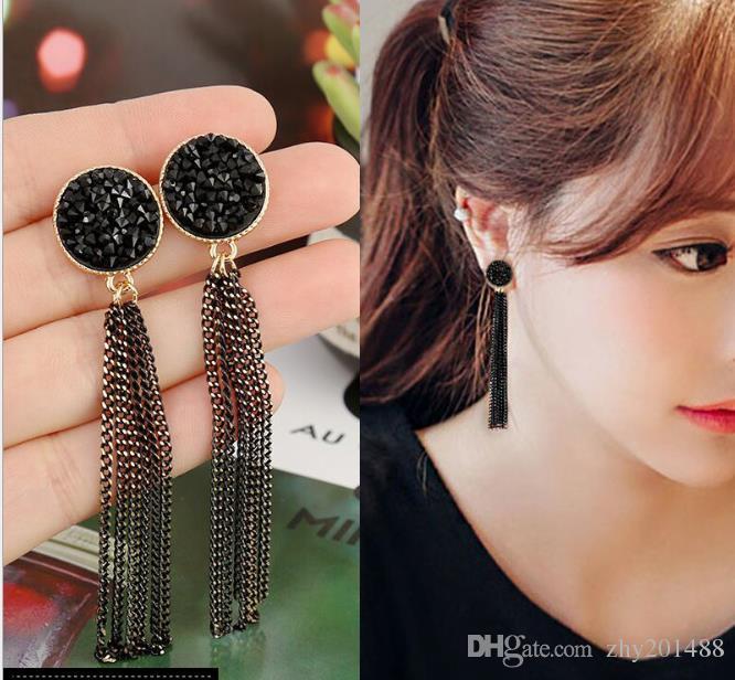 Новые серьги с кисточками из сплава в стиле ретро, черные серьги с бриллиантами, длинные серьги