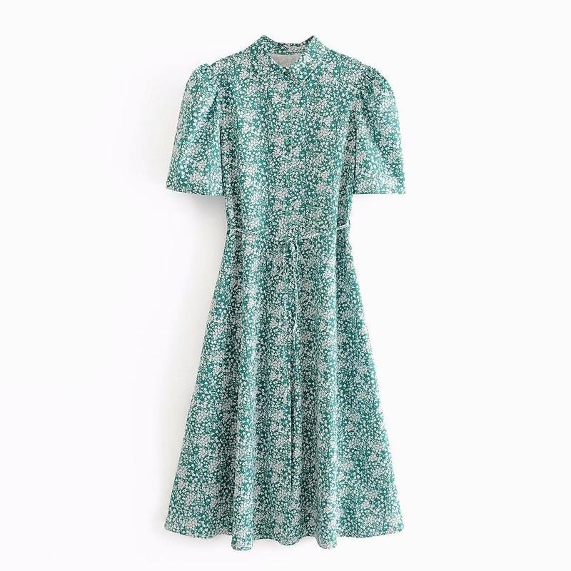 Mulheres vestidos de Verão 2020 de Moda de Nova Mid-Calf minúsculo Floral Prints Vestido