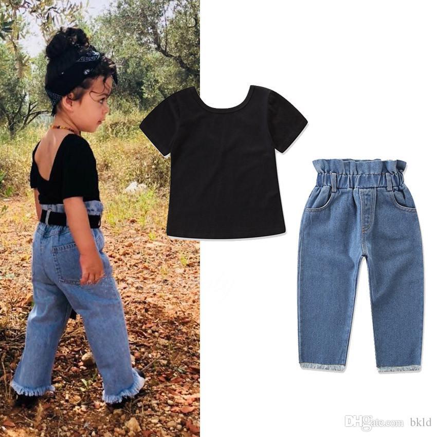 2019 Recém Conjunto Da Roupa Da Menina Da Criança 2 peças Infantil Do Bebê Meninas de Algodão preto T shirt Top E Denim Calças Calças Meninas Outfits Conjuntos