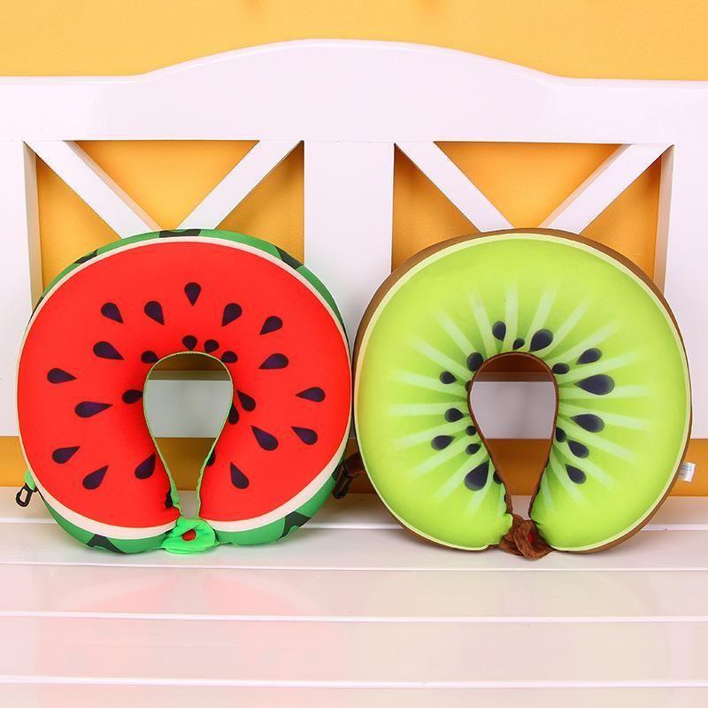 2adet 6 Renkler Meyve U Yastık Boyun Seyahat Karpuz Limon Kivi Turuncu Yastıklar Yastık koruyun Şeklinde