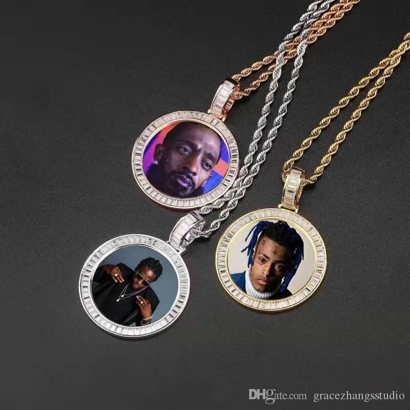 pendentifs ronds photo personnalisés pour les hommes des femmes de créateurs de luxe hip hop bling image diamant pendentifs famille ami cadeau amour bijoux