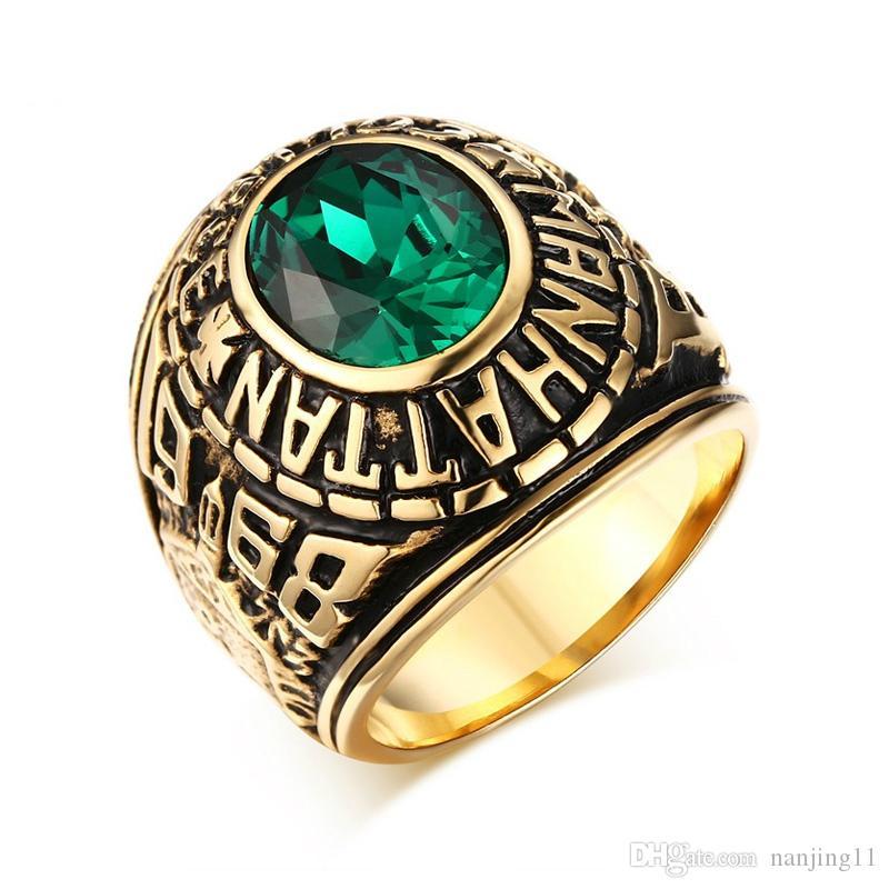 Anel masculino retro Manhattan College anel masculino aço inoxidável Cor-ouro anéis veteranos da escola para homens RC-210