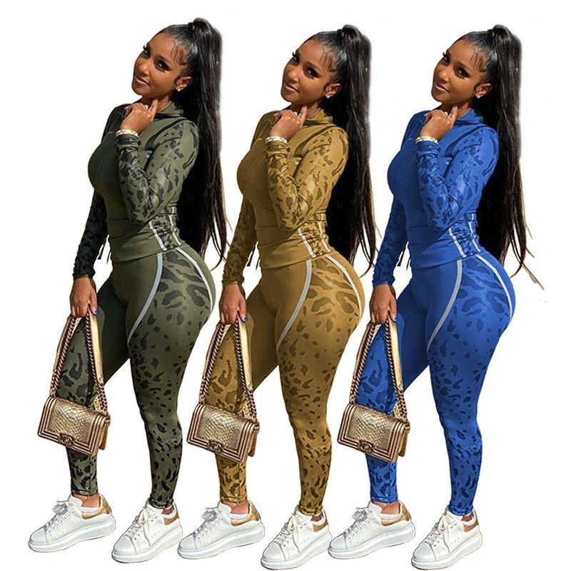 Mujeres chándal de camuflaje 2 piezas polainas ropa de invierno sudaderas pantalones de traje deportivo caída establecer pullover sudadera trajes monos de 1790