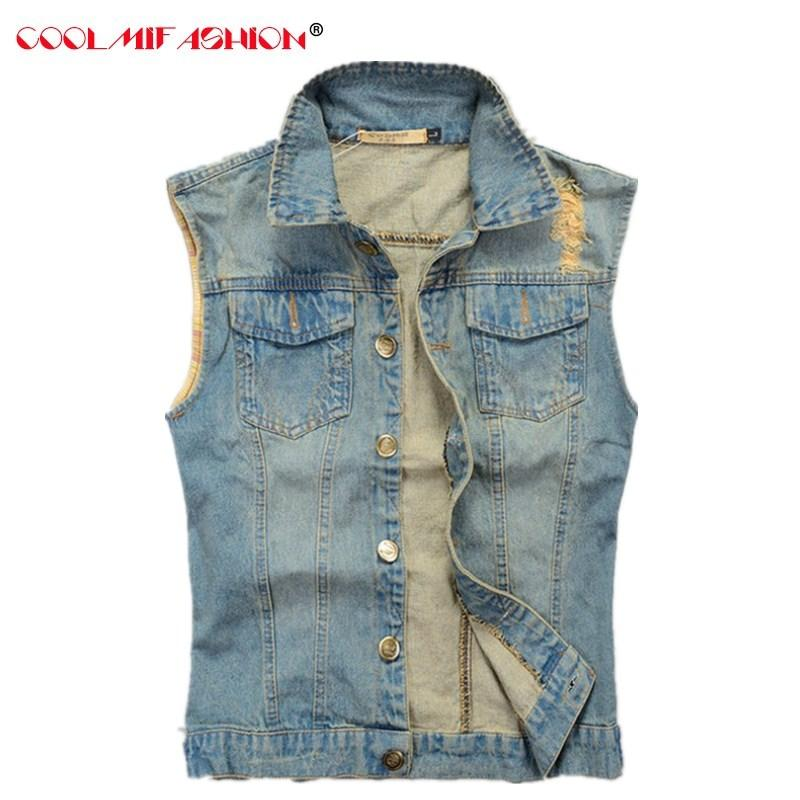 Estate Vintage Casual Jeans Vest Mens Gilet Gilet di Uomini Denim ricamo tasche della giacca senza maniche in moto Slim Cappotto