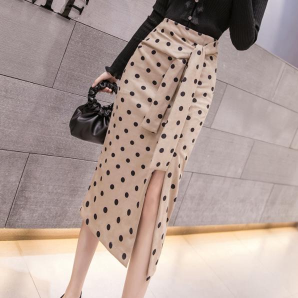 Leopardo de impresión de oficina otoño falda bordea a las mujeres de cintura alta de ante del partido de tarde del vendaje de Split Trabajo señoras Faldas Saias AQ464