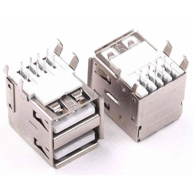 50PCS 더블 USB 타입 여성 솔더 잭 커넥터 PCB 소켓 USB-A 타입 90도 4pins