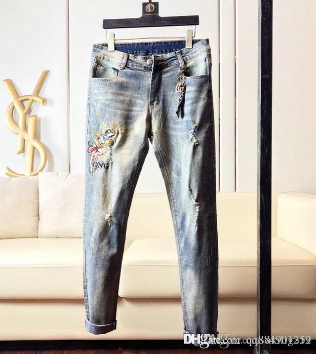 2019 Mens Ripped luxury Skinny mens designer jeans Long Pants Stylish Straight Slim mens pantalon de designer pour hommes