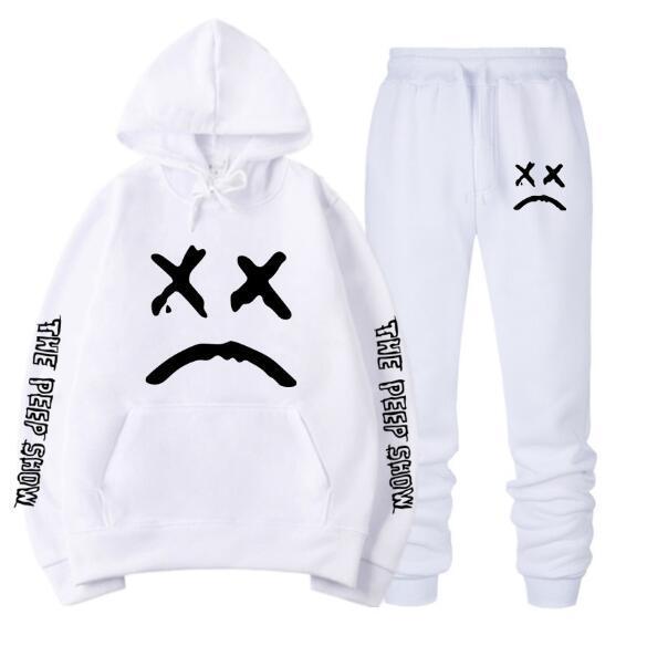 Lil Peep Amore Felpa Donna Uomo Casual Pullover di Hip Hop con cappuccio faccia triste ragazzi Hoody + Pants QJT02
