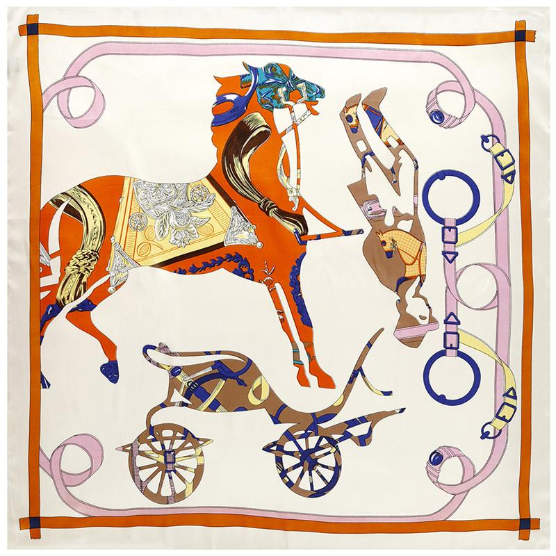 Mujeres Horse Imprimir Cuadrado Bufandas España Seda Echarpes Foullards Femme Wrap Big Carriage Bandana Hijab 90 * 90