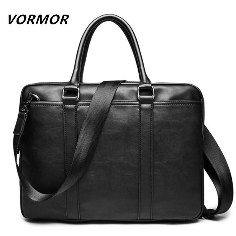 Vormor Promotion Einfache Berühmte Marke Business Männer Aktentasche Tasche Luxus Leder Laptoptasche Mann Umhängetasche Bolsa Maleta J190721