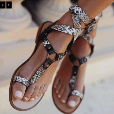 Explosions 2020 summer fashion cross strap snake belt buckle clip toe plus size sandals female