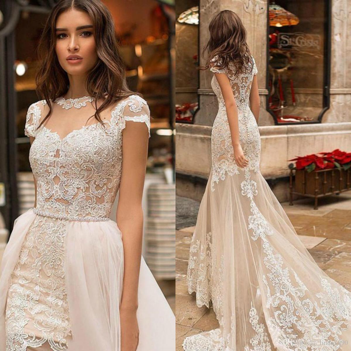Champagner Sexy Meerjungfrau Brautkleider mit abnehmbarer Zug Spitze Applique Kurze Ärmeln Hochzeitskleid Brautkleider Vestido de Noiva