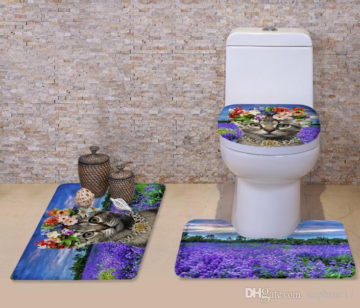 Tapis de bain Tapis Set Chat mignon 3D avec fleur non-Slip de bain Tapis de bain Tapis Cuisine paillassons Décor de siège de toilette Tapis Tapis