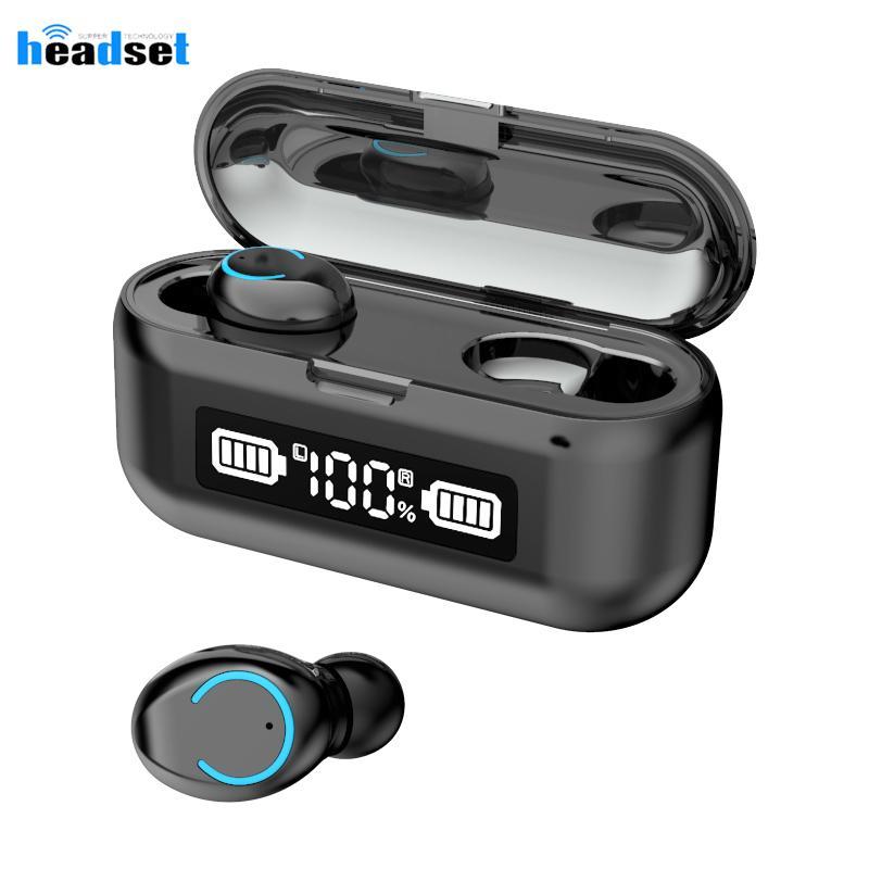 Bluetooth наушники F9-43 TWS LED 2000mAh Зарядка Box Беспроводные наушники 9D Stereo Sports Водонепроницаемые наушники с микрофоном