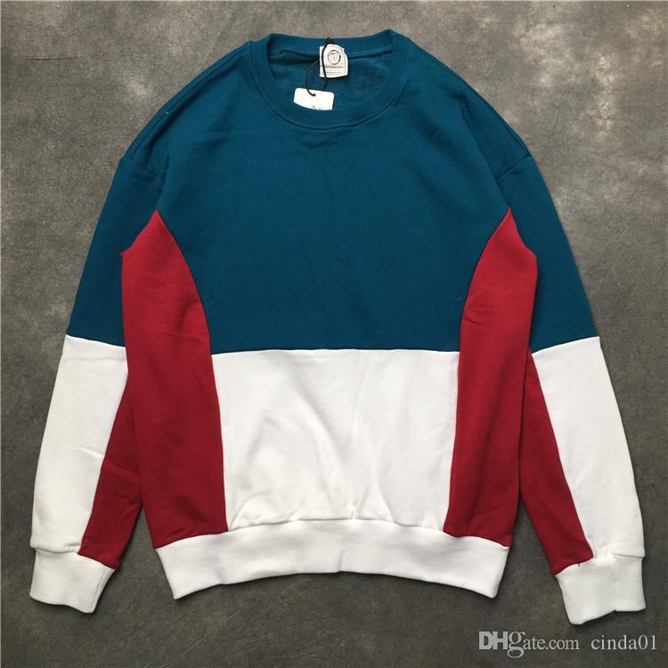 Hommes Hoodies Bleu Rouge Colorimétrie Contraste couleur rétro pull en coton Hoodies Casual Sweatshirts S-XXL
