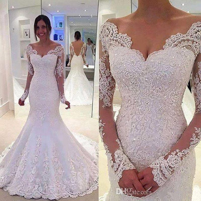 Свадебные платья русалки с кружевами аппликации без спинки свадебные платья с бисером с длинными рукавами невесты платье с плечом