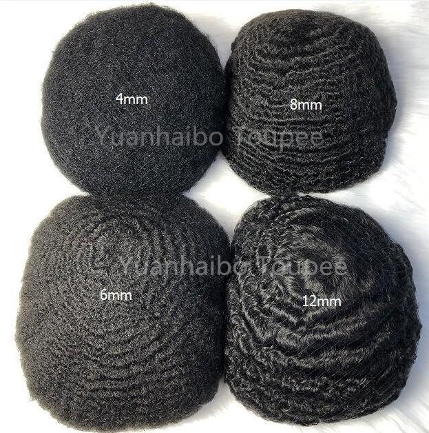 Para hombre de la peluca 4mm / 6mm / 8mm / 10mm Reemplazo del cordón del pelo de la onda afro Bisoñes completa Virgen india del cabello humano 360 Cabello ondulado envío