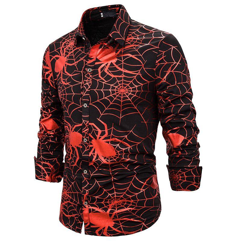 Shirt Mens Notte Club Dance Spider Goldstamped dell'attività transfrontaliera Mens Turncollar maniche lunghe Camicia S01
