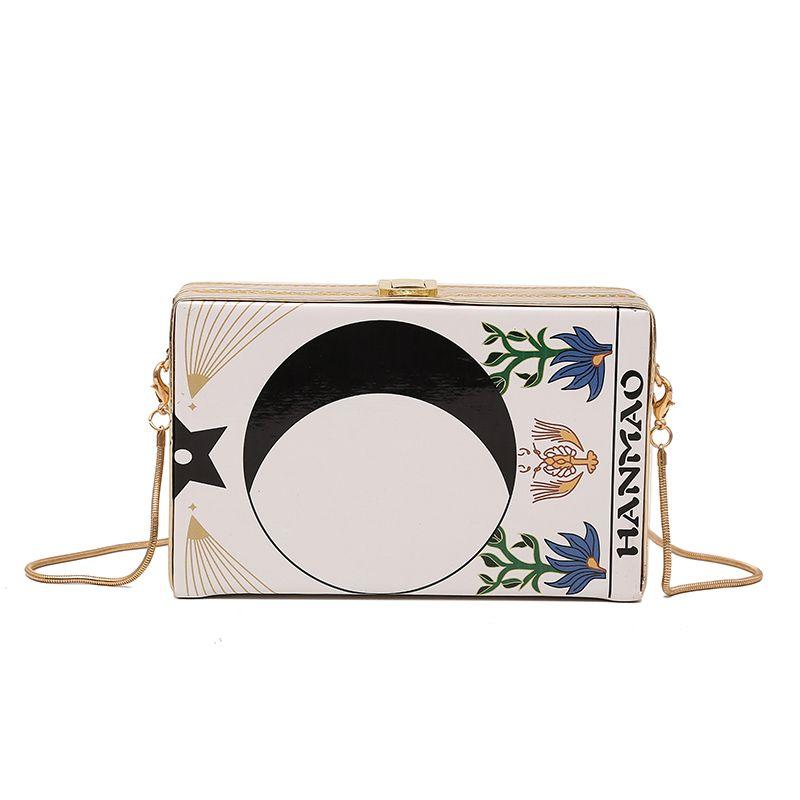 2019 sacs à main boîte femmes mini-sac à bandoulière Peinture à l'huile impression chaîne sacs crossbody mode PU sacs de messager en cuir bourse