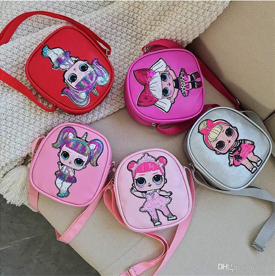 빛 공주 가방 귀여운 만화 아이의 어깨 메신저 가방 롤을 깜박이는 어린이의 장식 조각 가방 새로운 만화 인형