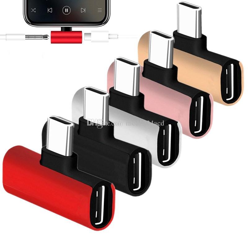 سبيكة نوع C إلى 3.5 ملم جاك كابلات الصوت 2 في 1 شاحن محول محول لهواوي Xiaomi Letv Samsung