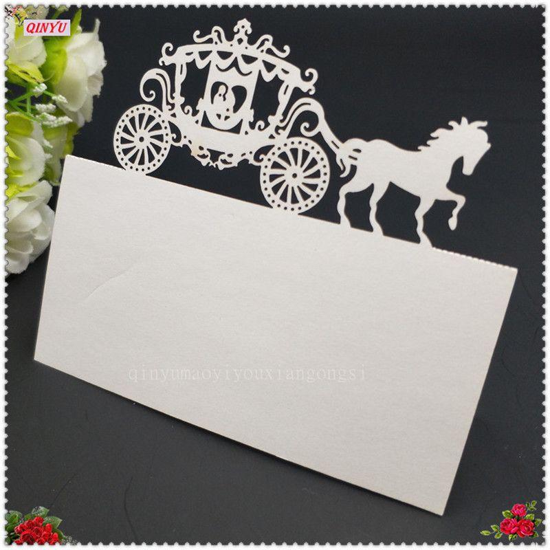 100 Stücke Laser Cut Royal Carriage Party Tisch Name Sitz Dekoration Tisch Sitznummern Name Tischkarten Hochzeit Liefert 6Z