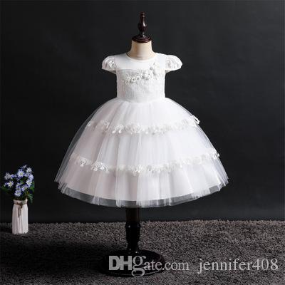Wholesale cheap Beautiful Flower Girl Dress Top Grade Baby Weeding Princess Dresses for Girls Five colors fashion dress
