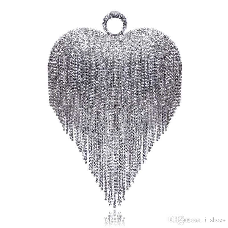 Heart Design Tassel Rhinestones Women Clutches Crystal Finger Ring Chain Shoulder Handbags For Party Wedding Bridal Purse #172985