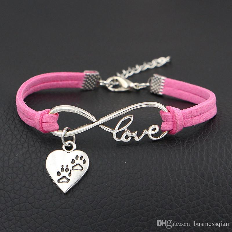 New Punk Infinity Love Double Dog Paw Prints Heart Bracelet & Bangles Handmade Hot Pink Leather Suede Charm Women Men Jewelry Gift Wholesale